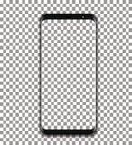 Vector negro del teléfono con la pantalla transparente en fondo transparente Foto de archivo libre de regalías