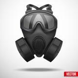 Vector negro militar del respirador del gasmask stock de ilustración