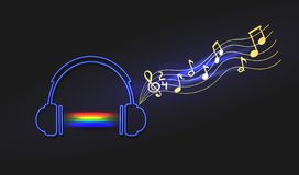 Vector Neon Abstract Rainbow Music Sound Light and Headphones with Notes, Isolated Illustration. Vector Neon Abstract Rainbow Music Sound Light and Headphones vector illustration