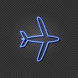 Vector Neon Airplane, Plane Icon, Travel Concept, Light Blue Line Shining on Dark Transparent Background. vector illustration