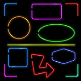 Vector neon banners set. Color shape illuminated, electric colorful frame illustration Stock Image