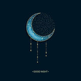 Vector neon blue background with arabic decorated moon and stars and words good night Stock Photos