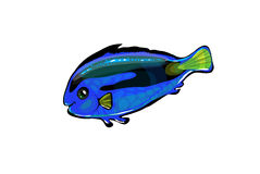 Vector  neon blue fish in the sea. Funny illustration isolated o Stock Photos