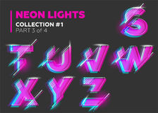 Vector Neon Character Typeset. Glowing Letters on Dark   Royalty Free Stock Photo