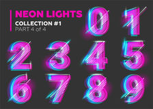 Vector Neon Character Typeset. Glowing Numbers on Dark. Vector Neon Character Typeset. Glowing Letters on Dark Background. Glitch Effect. Pink, Blue, Purple Stock Image