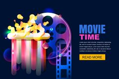 Vector neon cinema and home movie time concept. Film reel and popcorn modern illustration. Sale cinema theatre tickets. Vector glowing neon cinema and home stock illustration