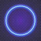 Vector neon circle frame cyan color on transparent background. For promotion, poster party, shop, cafe, restaurant, banner. Bright signboard. 10 eps Stock Image