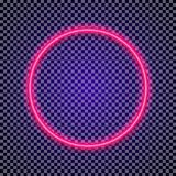 Vector neon circle frame red color on transparent background. For shop, cafe, restaurant, banner, promotion, poster party. Bright signboard. 10 eps Stock Photos