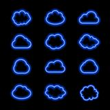 Vector Neon Cloud Icons Set, Glowing Bright Blue Lines on Dark Background. Vector Neon Cloud Icons Set, Glowing Bright Blue Lines on Dark Background, Shining Royalty Free Stock Image