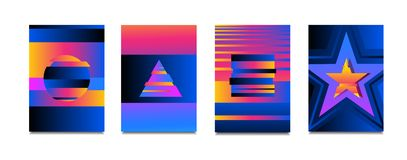 Vector neon colorful glitch effect poster set.Modern Tv distortion effect. Abstract circle geometric background glitch effect.Bann stock illustration