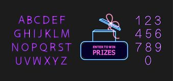 Vector Neon Enter to Win Prizes Icon, Glowing Numbers and Lettering, Shining Font, Blue and Violet Colors, Isolated. vector illustration