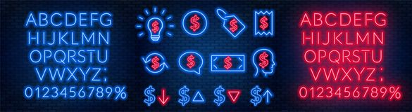 Vector neon financial signs on dark background. Signs of currency exchange, currency appreciation and depreciation, prices, busine. Ss ideas, speech bubble and stock photo