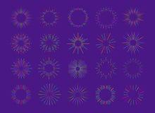 Vector neon fireworks explosion set isolated on background for emblem. Logo, stamp, logotype, t shirt, banner. Sunburst, star. 10 eps Stock Images
