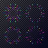 Vector neon fireworks set isolated on dark transparent background. Star, sunburst, rays of light for tag, emblem, logo, stamp, logotype, t shirt, banner. 10 Royalty Free Stock Photography