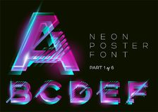 Vector Neon Font. Glowing Colorful Alphabet on Dark Background. vector illustration