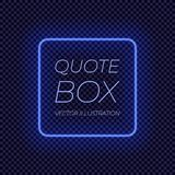 Vector Neon Frame, Bright Blue Square Border, Transparent Background. stock illustration