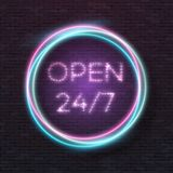 Vector Neon Frame. Glowing Vector Neon Sign. Illustration of Realistic Vector Neon Sign. Open 24 Hours Glowing Neon Frame. Retro Neon Sign Royalty Free Stock Images