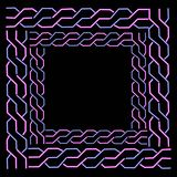 Vector neon frame with pigtails. In retro school style or chains Stock Image