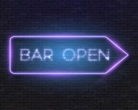 Vector Neon Frame Vintage Bar Sign Icon Stock Photo