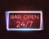 Vector Neon Frame Vintage Bar Sign Icon. Illustration of Realistic Vector Neon Sign. Open 24 Hours Glowing Neon Frame. 24 7 Retro Neon Sign Stock Photography