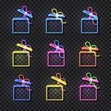 Vector Neon Gift Boxes Set Isolated on Dark Transprent Background, Shining Illustrations, Open Box. stock illustration