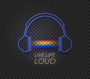 Vector Neon Headphones and Rainbow Music Light, Live Life Loud. stock illustration