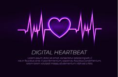 Vector Neon Heart Beat Line, Glowing Illustration, Shining Lights, Ultraviolet Color. vector illustration