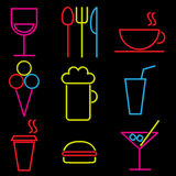 Vector neon icon set Royalty Free Stock Photo