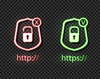 Vector Neon Icons: http and https Protocols with Lock, Green and Red Bright Symbols, Check and Cross. stock illustration