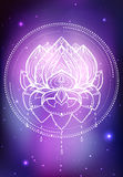 Vector neon illustration of lotus with boho pattern, background space with stars and nebula Royalty Free Stock Photography