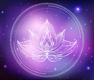 Vector neon illustration of lotus with boho pattern Stock Image