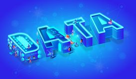 Vector Neon Isometric Word Data on Blue Background stock illustration