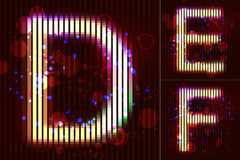 Vector Neon Light Alphabet - DEF. The vector alphabet of neon light with circles and bubbles- DEF Stock Photos