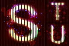 Vector Neon Light Alphabet - S T U. Vector alphabet of neon light with circles and bubbles - S T U Stock Photos