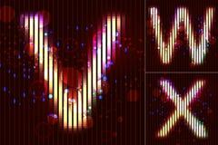 Vector Neon Light Alphabet - V W X. Vector alphabet of neon light with circles and bubbles - V W X Royalty Free Stock Photos