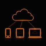 Vector neon orange computing icons Royalty Free Stock Images