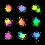 Vector Neon Paint Splashes Isolated on Black Background, Creative Design Elements Set. vector illustration