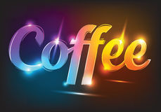 Vector neon sign coffee, illuminated neon billboard. Element for signboard, bar, saloon, cafe, and disco Stock Image