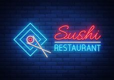 Vector neon sign logo Sushi bar, Asian fast-food street in a bar or shop, sushi, Onigiri with a salmon roll with Royalty Free Stock Photo