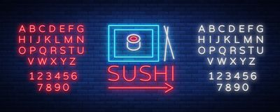 Vector neon sign logo Sushi bar, Asian fast-food street in a bar or shop, sushi, Onigiri with salmon roll with Royalty Free Stock Photos
