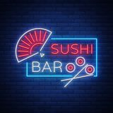 Vector neon sign logo Sushi bar, Asian fast-food street in a bar or shop, sushi, Onigiri with a salmon roll Royalty Free Stock Photography