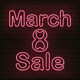 Vector neon sign 8 of March sale for decoration on the wall background. Concept of Happy Women`s Day. Vector neon sign 8 of March sale for decoration on the royalty free illustration