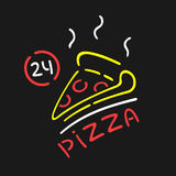 Vector Neon Sign Pizza Stock Photography