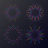 Vector neon stars set isolated on transparent background. Fireworks, sunburst, rays of light for tag, emblem, logo, stamp, logotype, t shirt, banner. 10 eps Stock Photos
