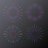Vector neon sunburst set isolated on transparent background. Fireworks, stars, rays of light for tag, emblem, logo, stamp, logotype, t shirt, banner. 10 eps Royalty Free Stock Images