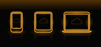 Vector neon technology icons. In orange color on black background Royalty Free Stock Photos
