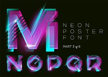 Vector Neon Typeset. Shining Pink Letters. Fluorescent Glitch. Stock Photo
