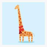 Vector nette glückliche flache Giraffe des wilden Tieres mit vielen braunen Stellen und roten Schal Lizenzfreies Stockfoto