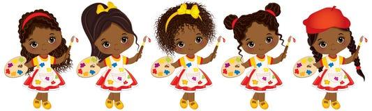 Vector nette kleine Afroamerikaner-Künstler mit Paletten-und Pinsel-Vektor-kleinen Afroamerikaner-Mädchen Vektor Abbildung
