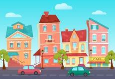 Vector nette Straße der Karikatur einer bunten Stadt mit Shops vektor abbildung